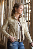 Ryan Michael Women's Distressed Tan Denim Jacket