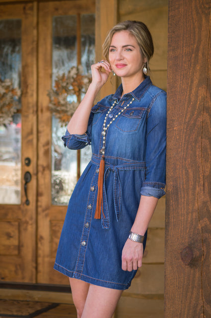 Ryan Michael Women's Indigo Jean Jacket Dress