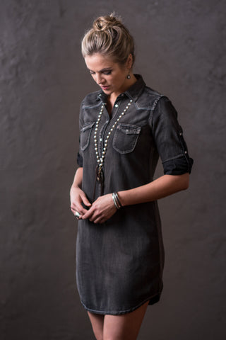 Ryan Michael Women's Black Denim Dress - SALE