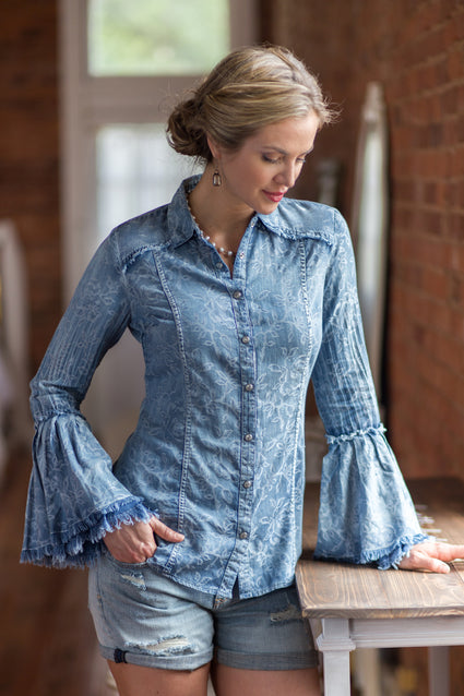 Ryan Michael Women's Floral Indigo Tiered Sleeve Shirt - SALE
