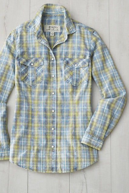 Ryan Michael Women's Neon Fountain Plaid Shirt