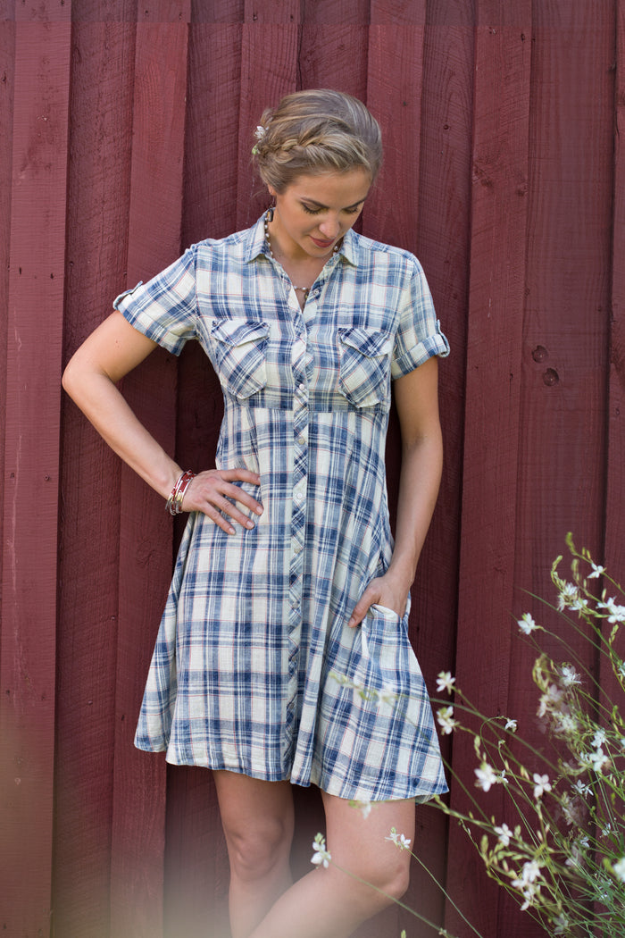 Ryan Michael Women's Plaid Swing Dress