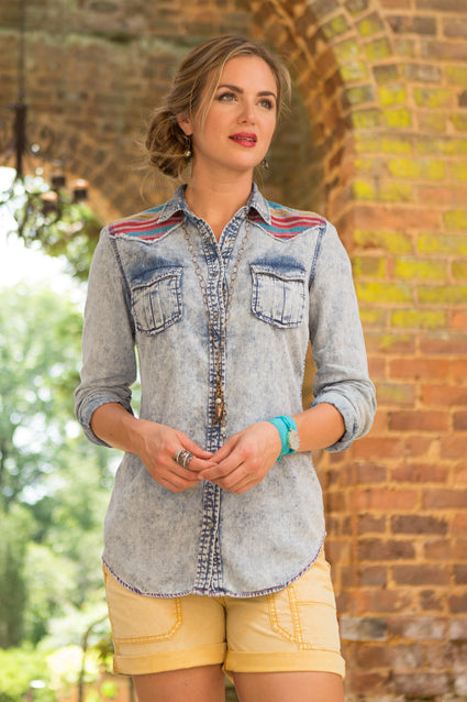 Ryan Michael Women's Serape Embroidered Indigo Shirt