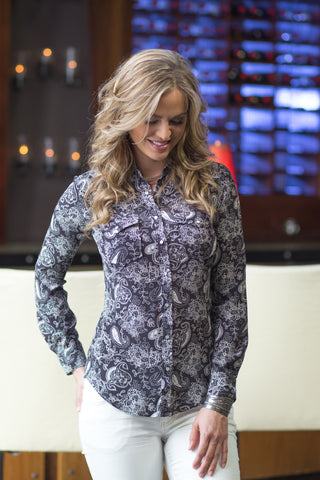 Ryan Michael Women's Paisley Print Silk Shirt