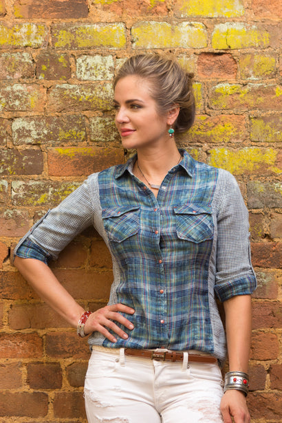 Ryan Michael Women's Fiesta Plaid Shirt
