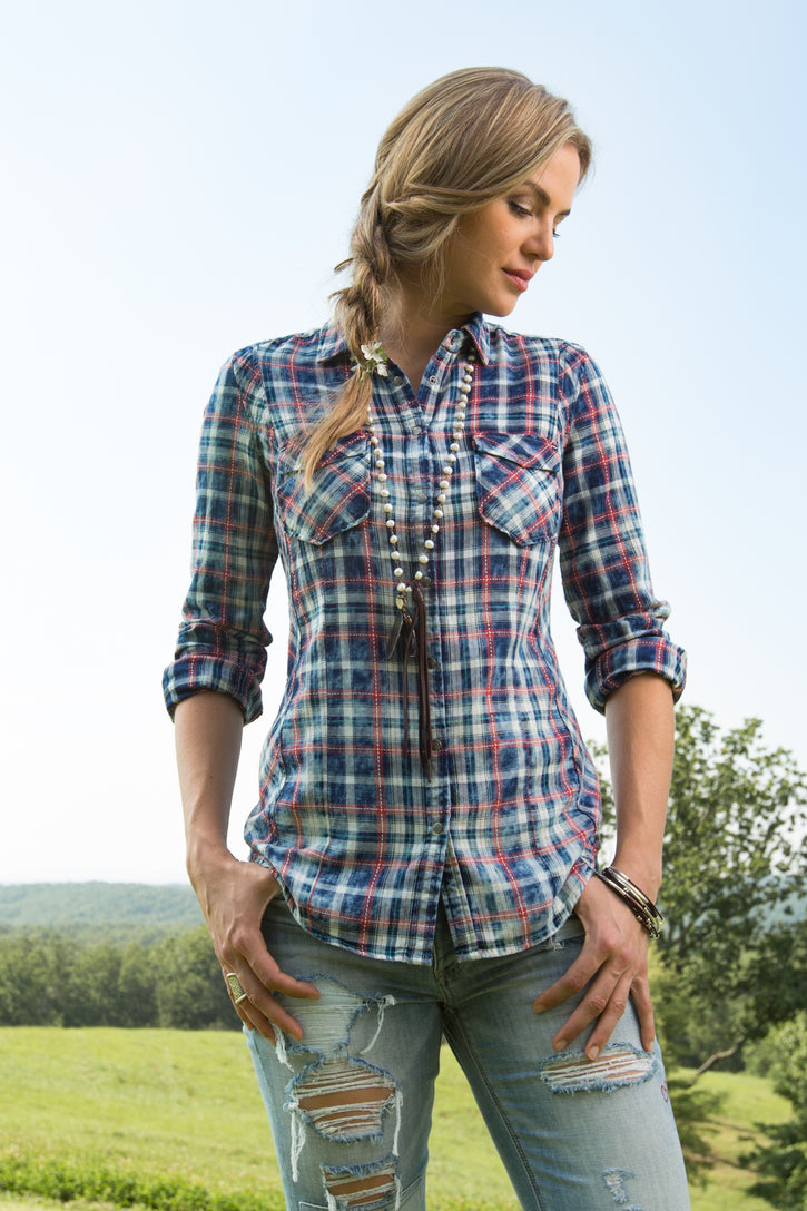 Ryan Michael Women's Pick Stitch Plaid Shirt - SALE