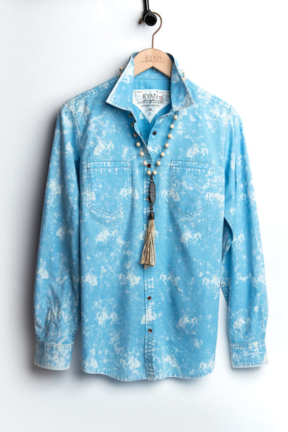 Ryan Michael Women's Bucking Horse Print Shirt - Cornflower