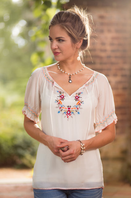 Ryan Michael Women's Embroidered Fiesta Tunic