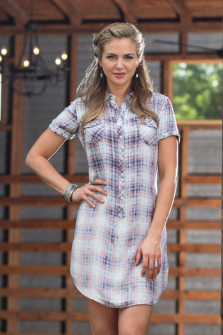 Ryan Michael Women's East Nashville Skyline Plaid Dress