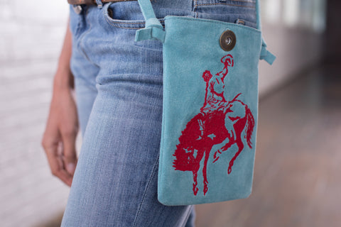 Ryan Michael Women's Cross Body Bucking Horse Embroidered Bag