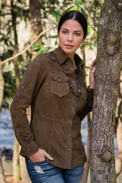 Ryan Michael Women's Buffalo Creek Leather Shirt