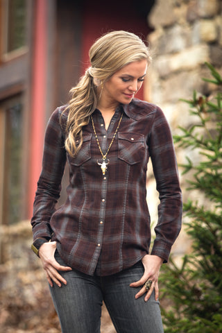 Ryan Michael Women's Snake River Plaid Shirt - SALE