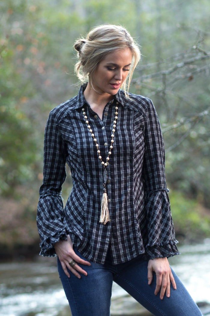 Ryan Michael Women's Black Mountain Plaid Top