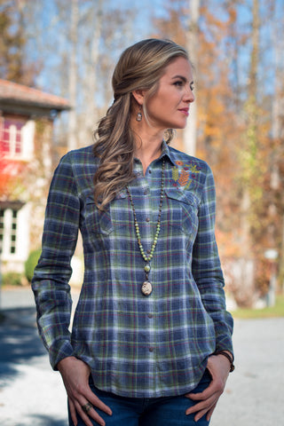 Ryan Michael Women's Embroidered Heather Plaid Shirt