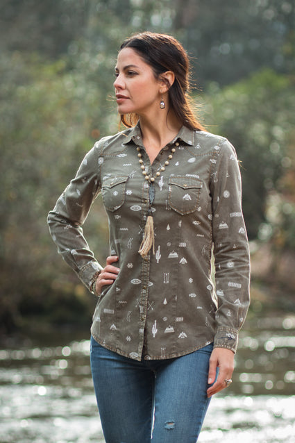 Ryan Michael Women's Mesa Verde Print Shirt