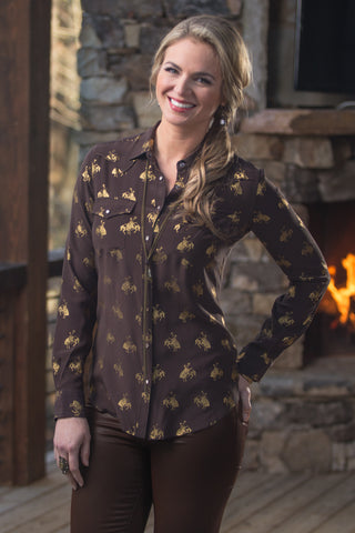 Ryan Michael Women's Silk Wildhorse Metallic Print Shirt - SALE