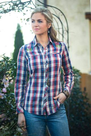 Ryan Michael Women's Ojai Valley Embroidered Plaid - SALE
