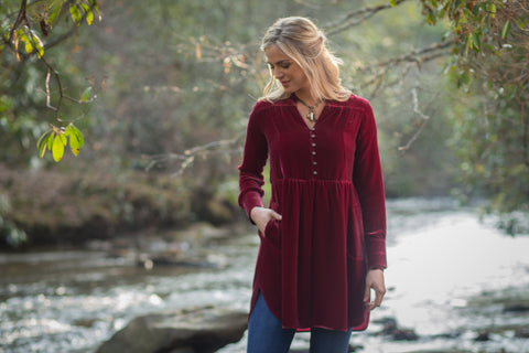 Ryan Michael Women's Leigh Lake Velvet Tunic - Ruby