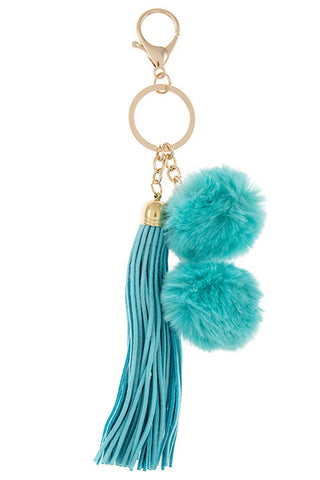 Tassell with Double Pom Pom Key Chain/Purse Accessory - Turquoise