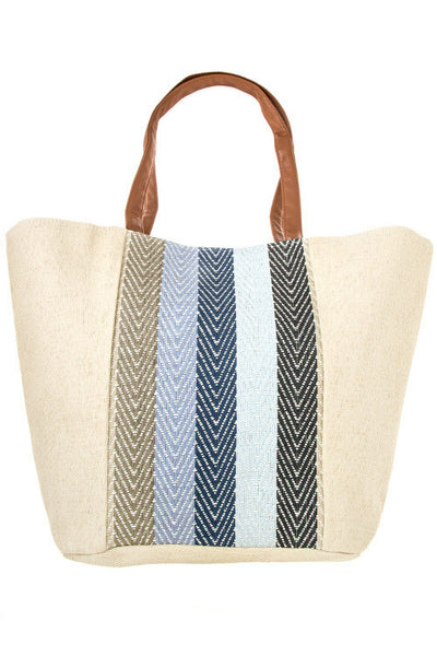 Nautical Lined Large Tote - Ivory