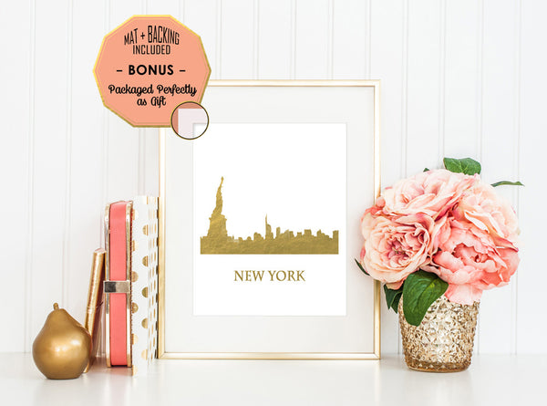 New York Skyline - Gold Foil Print