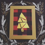 Gold Plaid Tree with Gold Frame - Limited Time Only - Holiday - Gold Foil Print