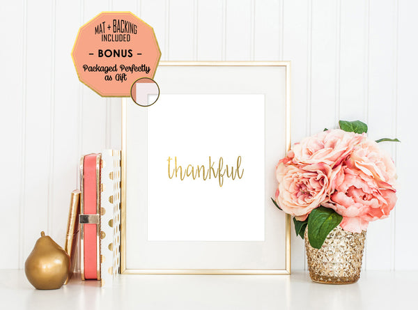 Thankful Holiday- Gold Foil Print