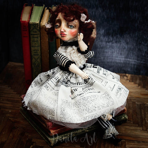 Maggie, a paper clay and fabric art doll created by Danita Art