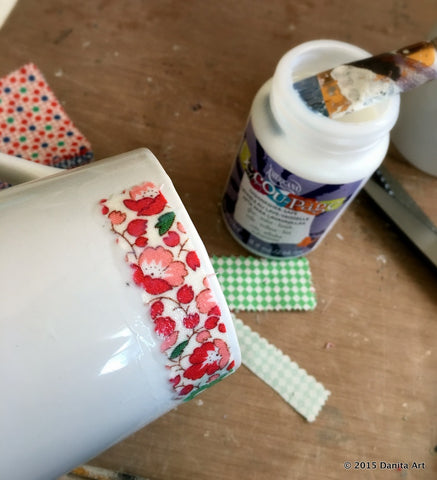 Danita usedtiny fabric scraps for her DIY Coffee Mug tutorial