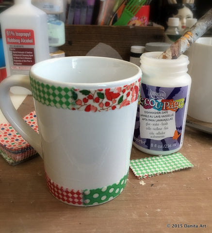 Mid process of Danita's DIY Coffee mug art project