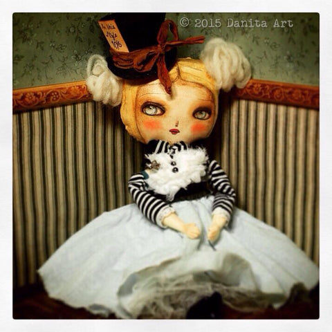 Mad Hatter Alice handmade original art doll by Danita Art