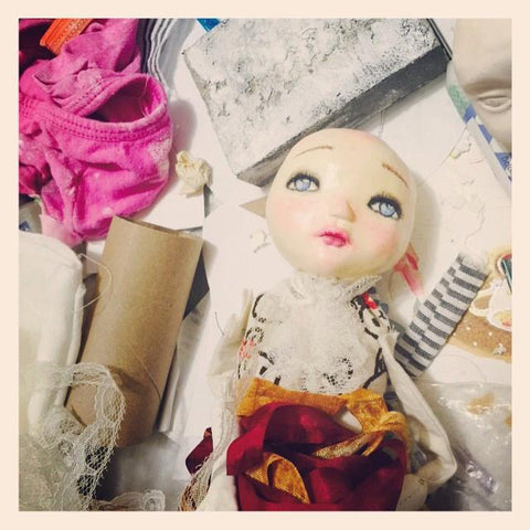 Every Danita doll is hand painted with the sad and melancholic eyes that have become a signature of Danita's work.