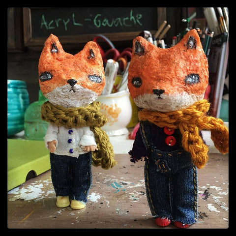 Almost done with my mixed media art dolls, I finished them with hand knit scarves. Beautiful art dolls by Danita Art.