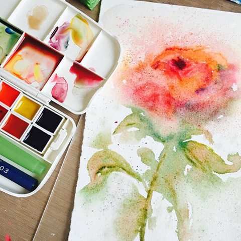 A watercolor rose painting in progress by Danita Art