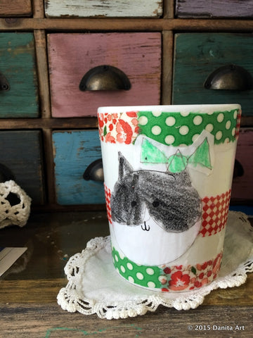 This is the coffee mug Danita made with Deocart decoupage dishwasher safe, part of her DIY projects for the Helping Artists program