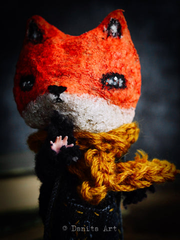 This beautiful spun cotton fox art doll was created by Danita Art using a rescued toy from a thrifty store.