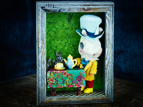 The mad hatter is now a cute and deranged fluffy bunny rabbit crafted by the mixed media hands of Danita, in her bunnies in Wonderland series, inspired by Alice in Wonderland