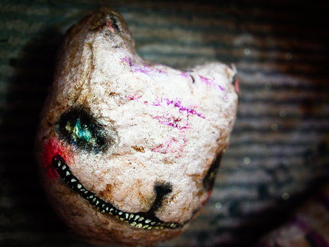 Madness lurks in darkness on this Cheshire Cat interpretation art doll by Danita Art