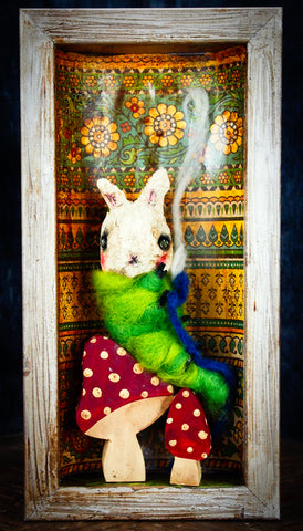 Alice's caterpillar is also part of the deranged bunnies in wonderland art doll collection by Danita Art