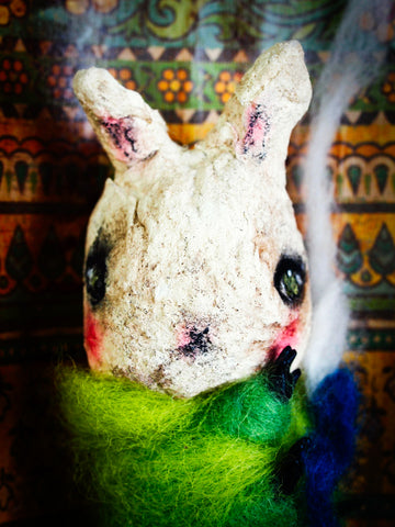 Spun cotton brings to life an amazing caterpillar scene from Alice in Wonderland on this art doll by Danita Art