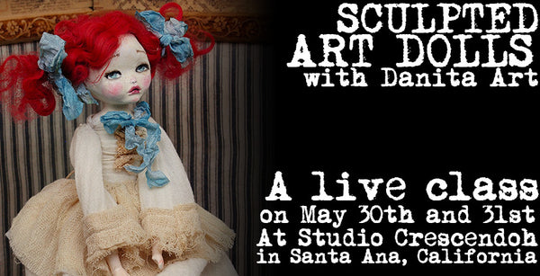 Join Danita in person on a new art doll making experience this May 30th at Studio Crescendoh, where Danita will be showing her mixed media techniques as you create a beautiful mixed media art doll under her guidance on this two day workshop. Don't miss the opportunity to meet Danita Art and create with her on a beautiful art space in Santa Ana, California. Enroll today!