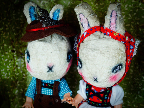 Hansel and Gretel have been bunnyfied by Danita Art on this fabulous assemblage created with plastic dolls covered by spun cotton