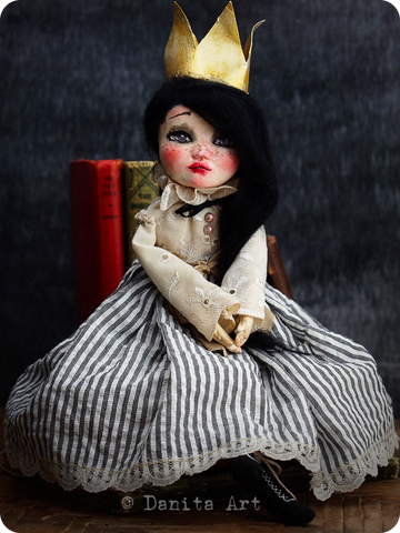 Rose, the queen will rule over your heart with her expressive hand painted eyes, her commanding pose and her royal crown and handmade gown. She is a one of a kind art doll created by the talented hands of mixed media artist Danita Art