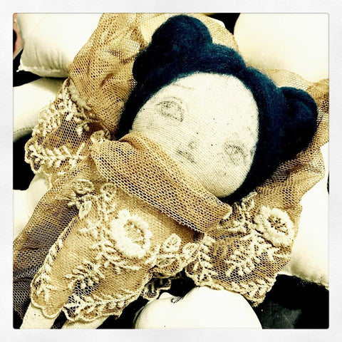 Hand dyed muslin art dolls created by Danita Art, using vintage lace and colored pencils for their lovely faces.