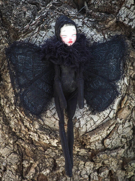 Original goth ard doll y Danita Art. Moth figurine toy perfect for the halloween collector who loves handmade unique surreal and whimsical art