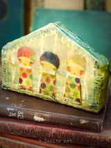 Three mixed media sisters live in an encuastic beeswax house by Danita Art