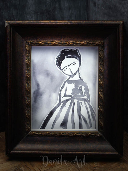 Frida study in black and white, Original Art by Danita Art