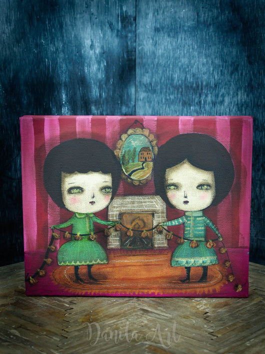 Twin whimsical girls get ready to decorate their home with Halloween pumpkins on this beautiful original painting created by Danita Art.