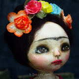 Frida in orange, Art Doll by Danita Art