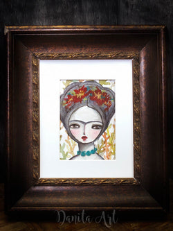 Frida in the wilderness, Original Art by Danita Art